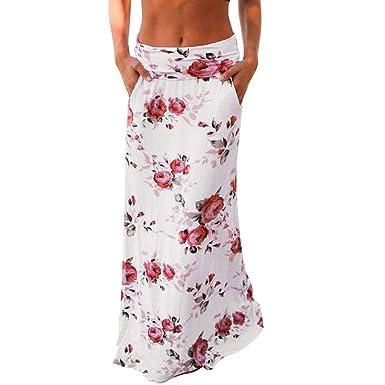 Alaso - Falda para Mujer, Estampado Floral, Falda Larga, Falda ...