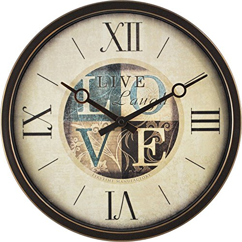 Brown Dot Clock (FirsTime 12'' Live Laugh Love Wall Clock One Size Tan Modern & Contemporary -)