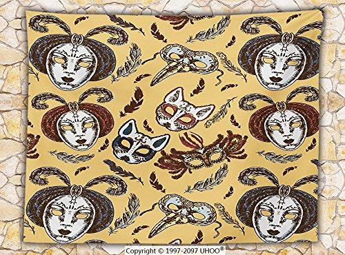 Handmade Venetian Wolf Mask (Masquerade Decorations Fleece Throw Blanket Venetian Paper Mache Handmade Full Face Mask With Feathers Pattern Dance Event Throw)