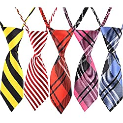 """YOY Handcrafted Pet Necktie - Adjustable Neck Tie 7.8""""-15.7"""" Fashion Stripe Design Bow Tie Dog Collar Bowtie Kitty Puppy Grooming Accessories for Doggie Cat Pack of 5, Multi-colored"""