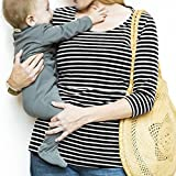 TiTCool Women's Nursing Tee Clothes Breastfeeding Blouse New Mommy T-Shirts Long Sleeve Stripe (M, Black)