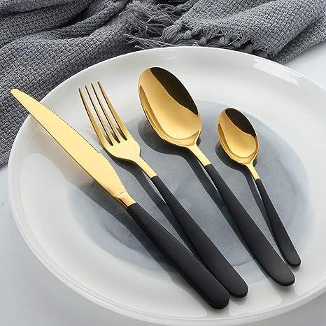 Oro Vajilla con Mango Negro Mostrada, Bisda 16 piezas Cuberteria Lujo Vajilla Servicio para 4: Amazon.es: Hogar
