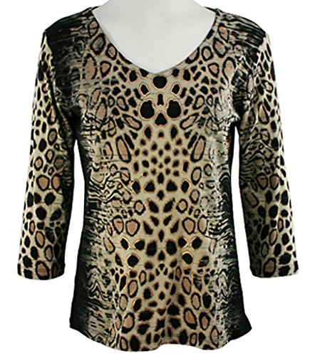 Katina Marie Foiled Spots 3/4 Sleeve Gold Foiled Multicolored V-Neck Top