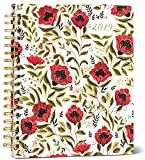High Note 2019 Dinara's Poppies in Red Deluxe Hardcover Organizer Planner Large Format 18-Month - July 2018 to December 2019, 8.25 x 10; (CHL-0590)