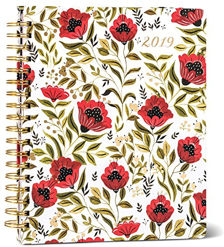 2019 Large Hardcover Organizer Planner 18-Month, Poppies Red