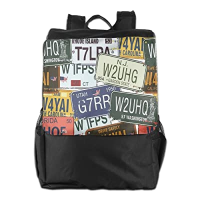 Newfood Ss Original Retro License Plates Creative Travel Collections Art Outdoor Travel Backpack Bag For Men And Women