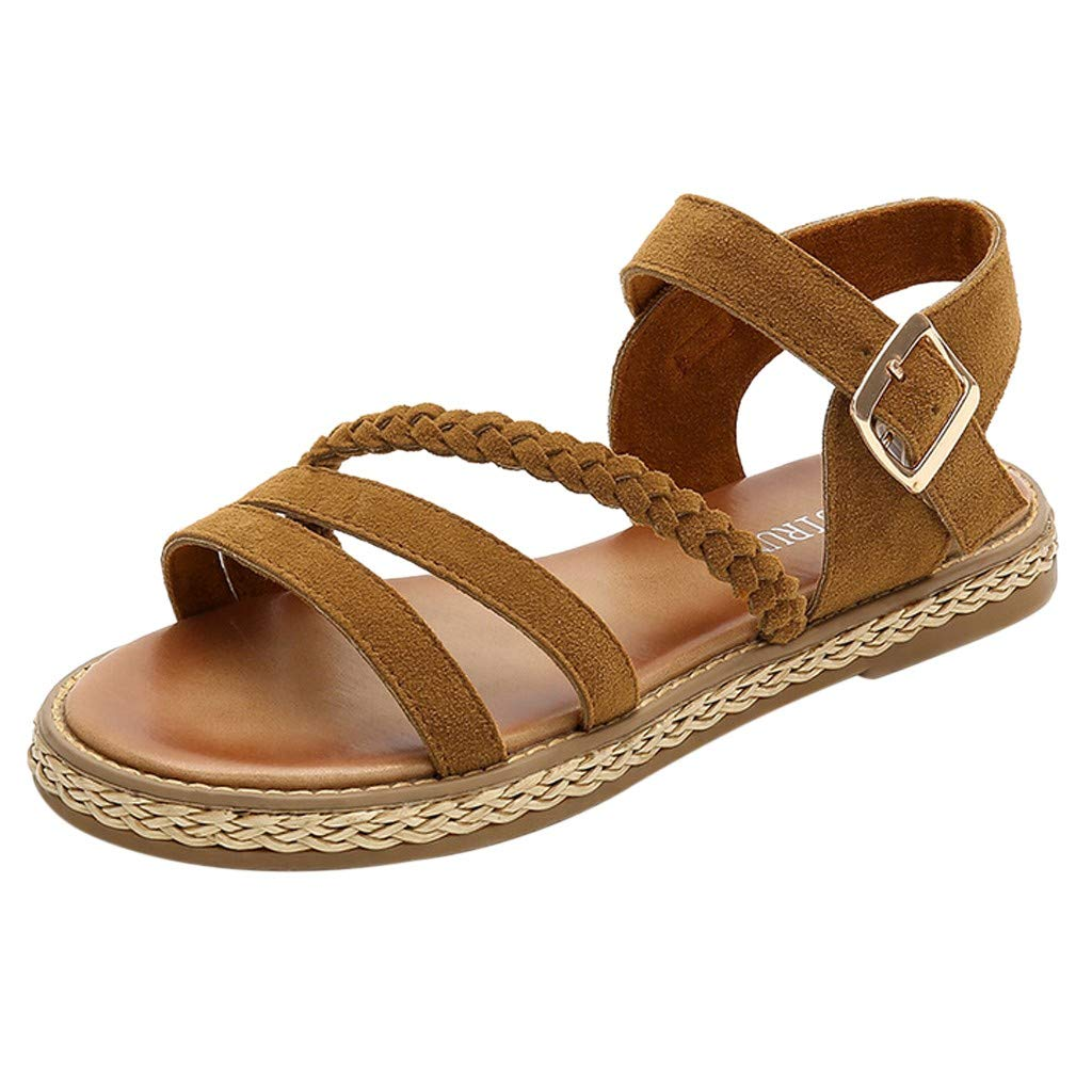 Fastbot Women's Summer Sandals Open Toe Casual Comfort Fashion Lace able Round Buckle Shoes Brown