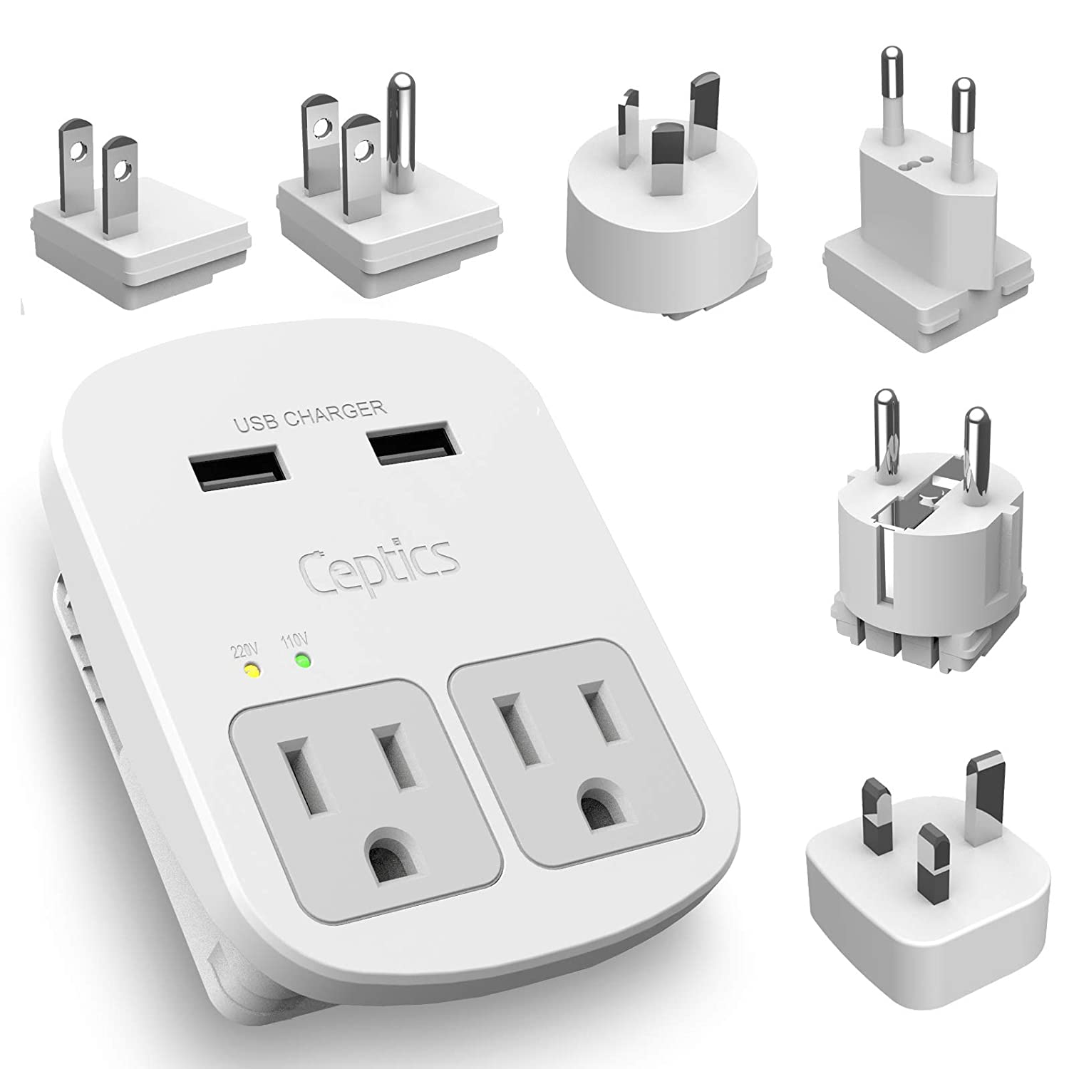 World International Travel Adapter Plug Grounded Dual USB 2 USA Outlets Input - Plugs for Europe, Asia, China, USA, South America