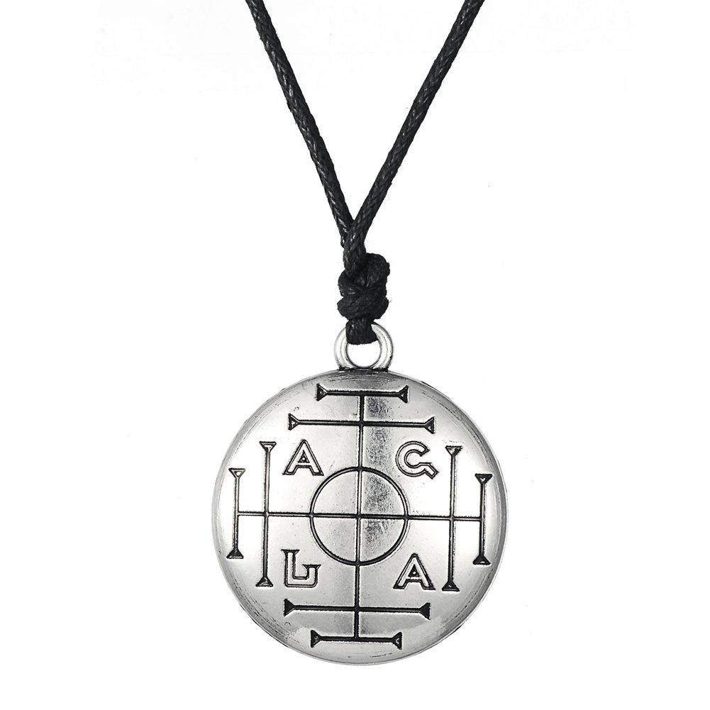 Fishhook Wicca Key of Solomon Talisman fü r Reichtum Schutz Anhä nger Halskette GeXiang