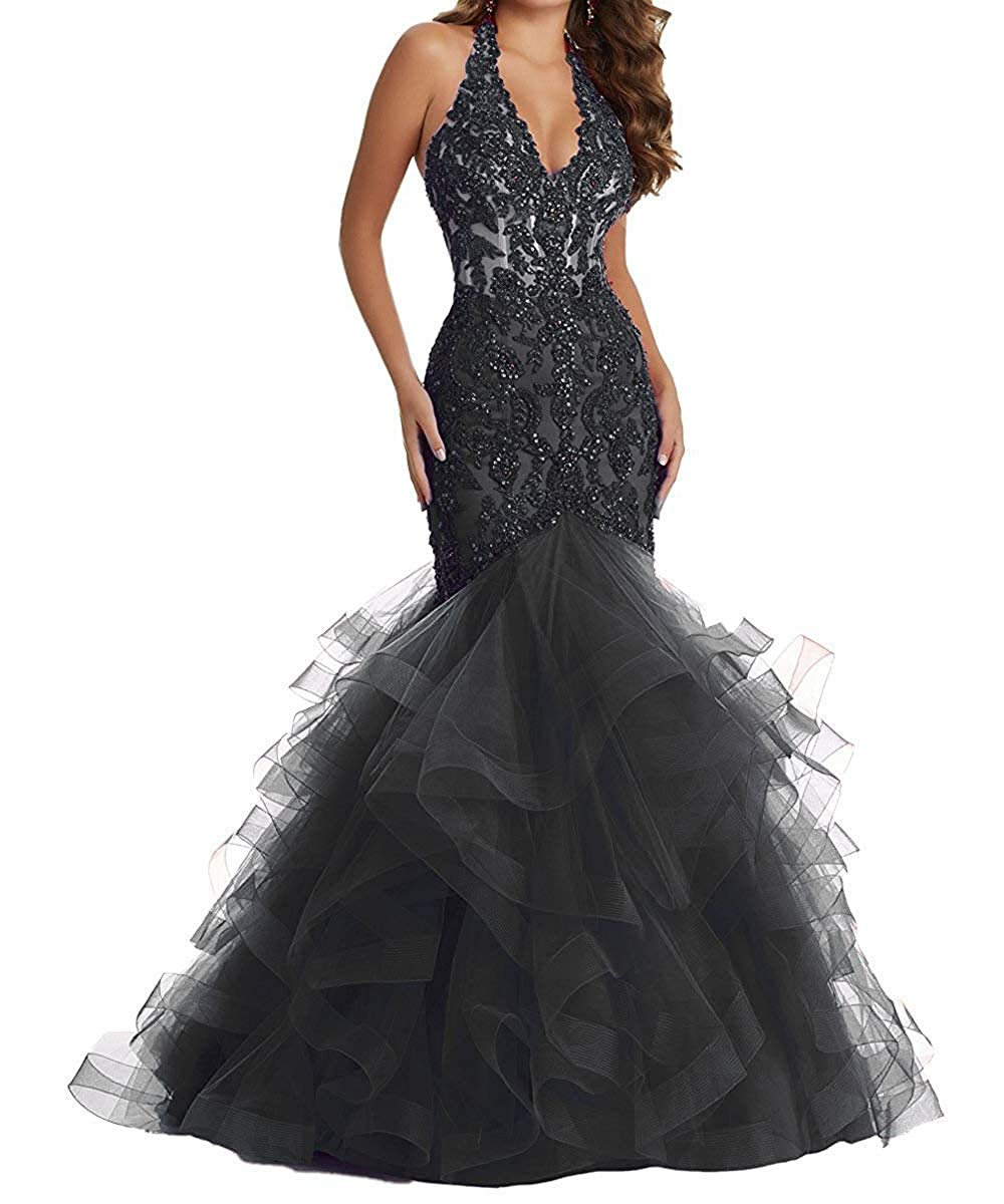 Black YMSHA Women's Long Halter Lace Beads Formal Prom Dress Long Mermaid V Neck Evening Party Gown 17PM