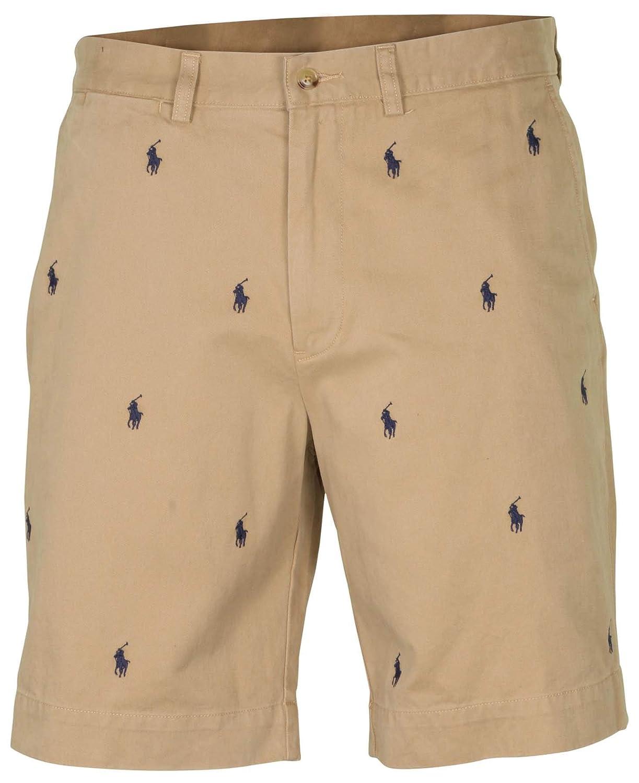 Polo Ralph Lauren Men S Flat Front Allover Pony 9 Shorts Khaki At