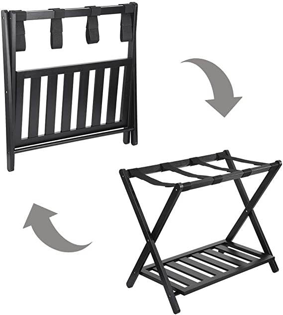 Black,26.8 x 22.0 x 14.2 inches UPDD Home Stable Luggage Rack Stand Foldable Compact Home Hotel Organization Rack Bamboo Durable Suitcases Luggage Rack with Shoe Shelf