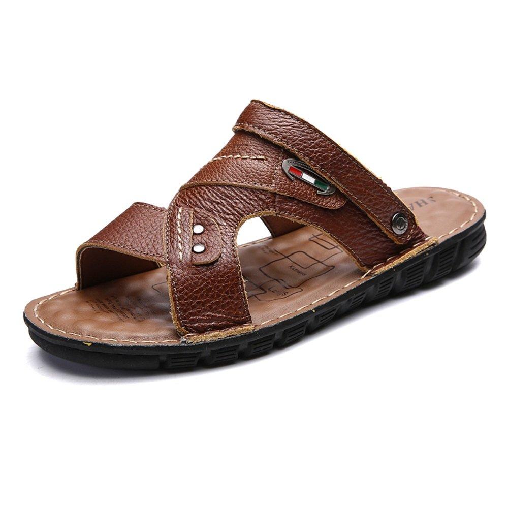 Sunny&Baby Zapatillas de Playa de Cuero Genuino para Hombres Zapatos Sandalias Planas Suaves Antideslizantes Ocasionales Resistente a la Abrasión 39 EU|Dark Brn
