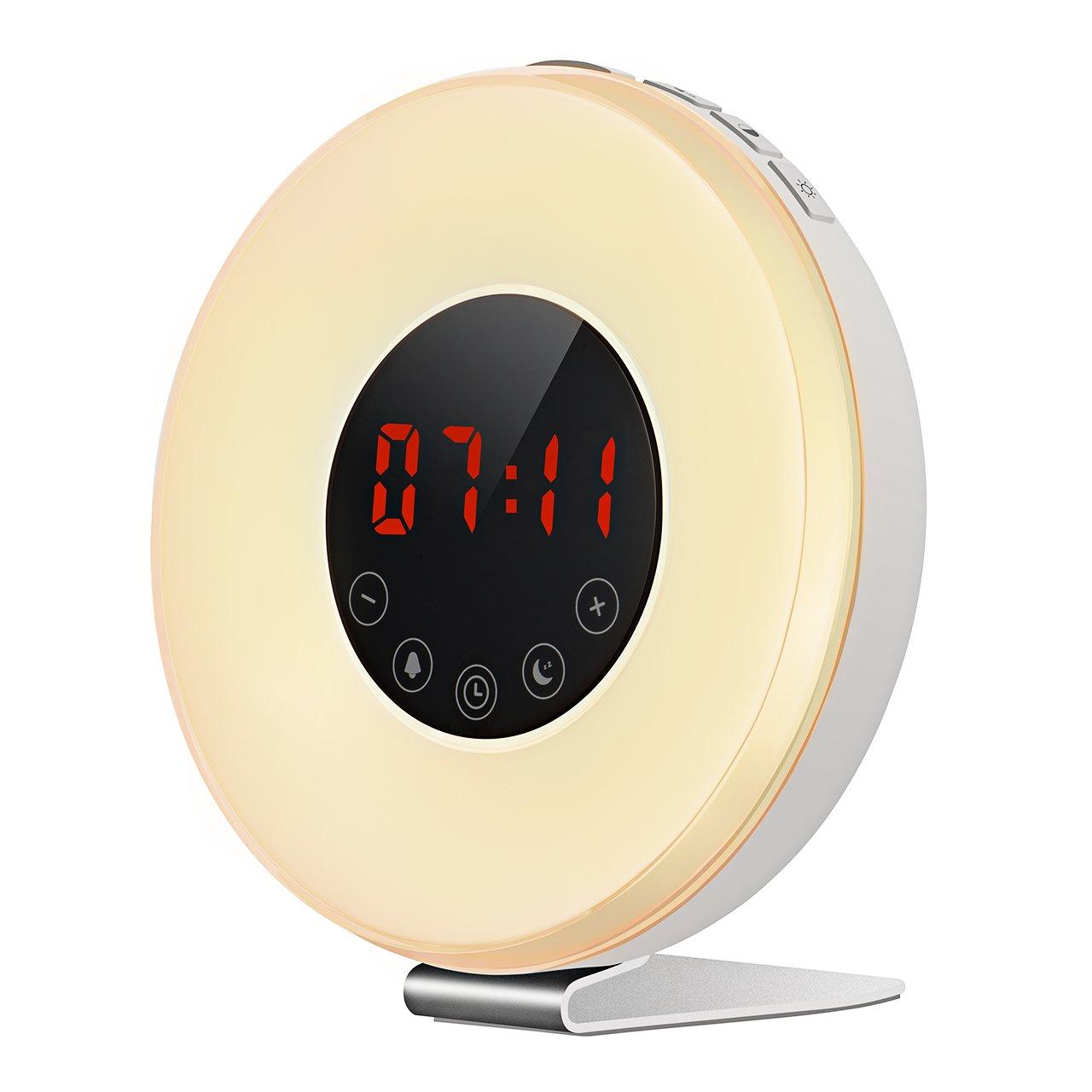 TOPELEK Projection Clock, 5'' Curved-Screen FM Radio Alarm Clock with Adjustable Dimmer, Digital Alarm Clock with Multiple Alarm Voice, Dual Alarm, Snooze Mode, Sleep Timer, USB Charging Port, Blue