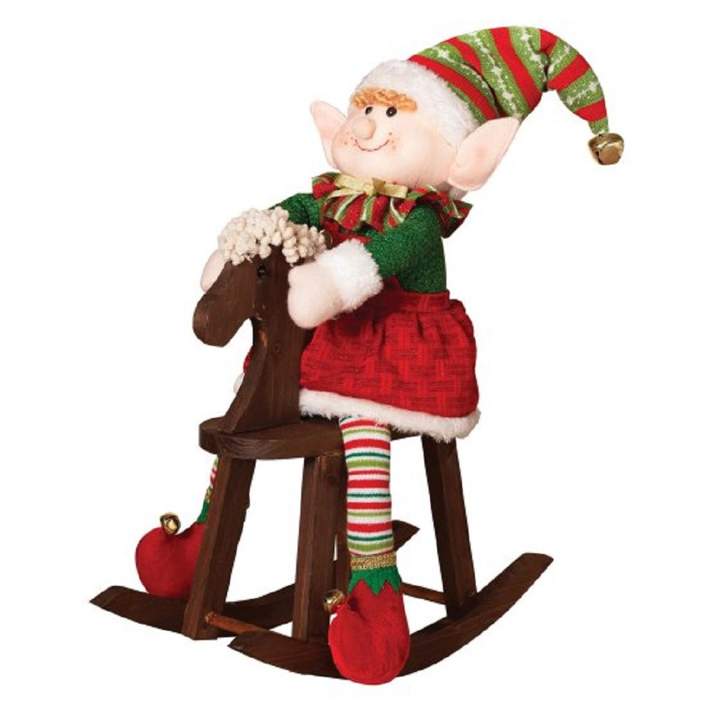 Plush Elf on Rocking Horse, Winter, Christmas, Yuletide Holiday Indoor Decoration, Made of Polyester, Wire & Wood, Mantle or Shelf Accent, 7W x 17D x 22H in. + Free Ebook