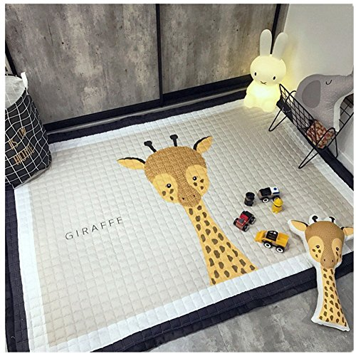 Baby Crawling Mat,Large Kids Play Game Pad Carpet Baby Nursery Rug Girls Bedroom Living Room Decor 6.4x4.75ft By SANMU (Giraffe)