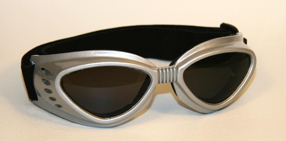 Motorcycle goggles black, smoke-tinted lenses, silver frame, SBR rubber Qubeat GmbH