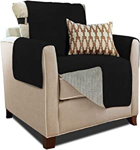 Gorilla Grip Original Slip Resistant Chair Protector for Seat Width up to 23 Inch, Patent Pending Suede-Like Furniture Slipcover, 2 Inch Straps, Chairs Slip Cover Throw for Dogs, Armchair, Jet Black