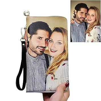 Personalidad Mujer Cartera de Cuero Fotos Personalizadas Carteras RFID Imprimir Cualquier Foto(Lado Doble Negro F): Amazon.es: Equipaje