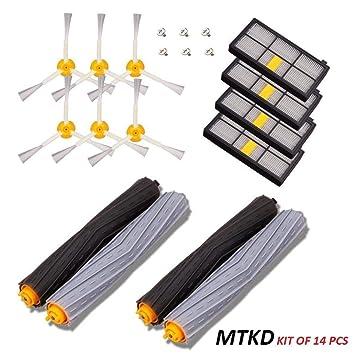 MTKD® Kit de Recambios para iRobot Roomba Serie 800 y Serie 900 - Kit de 14 Piezas Accesorios (Cepillos Lateral, Filtros, Cepillo de Cerda + 6 ...