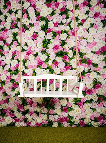 Leowefowa 5X7FT Bridal Shower Backdrop Happy Wedding Backdrops for Photography Blooming Fresh Rose Flowers Vinyl Photo Background Green Grassland Spring Outdoor Wedding Ceremony Studio Props -