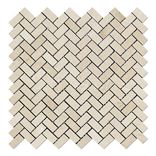- Crema Marfil Spanish Marble Mini Herringbone Mosaic Tile, Polished