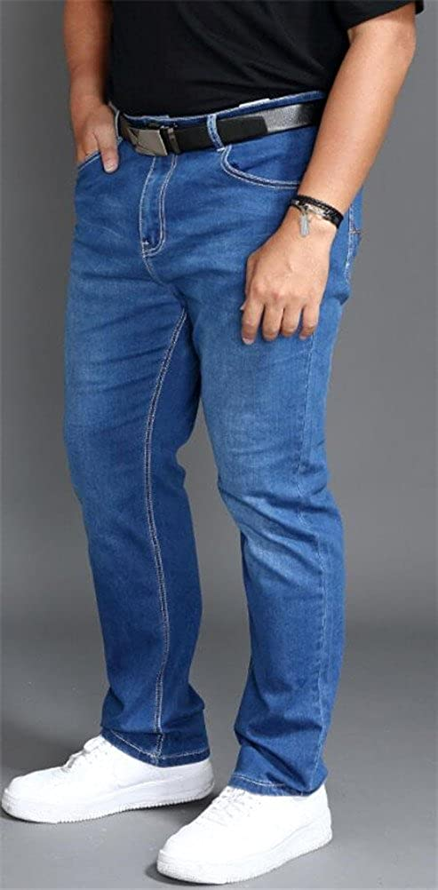 Jeans for Men Relaxed Fit Big and Tall,Loose Fit Blue Straight Leg Stretch Denim Jeans Plus Size