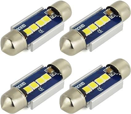 4x 3030LED Error Free White 36MM Festoon License Plate Light Bulb 4SMD C5W
