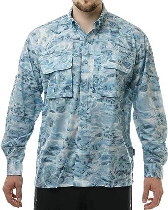 Aqua Design - Camisa de Pesca para Hombre (Manga Larga), diseño de Camuflaje - Azul - Large: Amazon.es: Ropa y accesorios