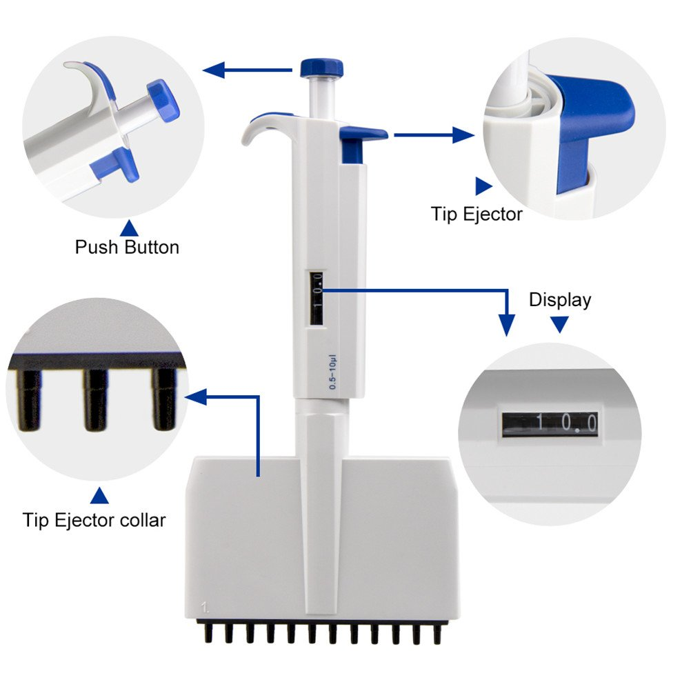 12 canaux R/églable Passe /à Lautoclave Pipette//Micropipette Pipettes pour Laboratoire Multicanaux Plage de Volume 0,5-10/μL