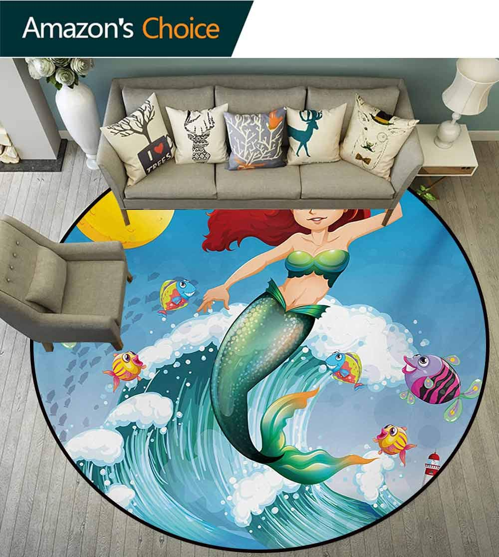 Mermaid Modern Machine Washable Round Bath Mat,Illustration of Cute Little Mermaid On Top of A Big Wave in The Surf with Fish Kids Non-Slip Living Room Soft Floor Mat,Diameter-59 Inch