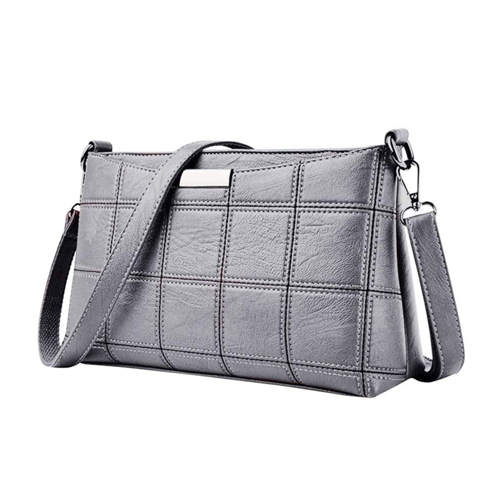 Color : C, Size : M XIAOLAOBIAO Fashion Women Pure Color Crossbody Bag Simple Handbag Leather Plaid Messenger Bag Shoulder Small Square Package
