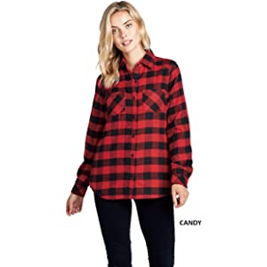 afe016955202 Ci Sono Womens Long-Sleeve Plaid Flannel Button Down Shirt with Hoodie  (Small, Candy 2) at Amazon Women's Clothing store: