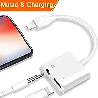 2 en 1 Lightning Jack Adaptateur de Prise Casque pour iPhone X iPhone8/8Plus iphone 7/7 Plus iPad iPod.Lightning 3.5mm Aux Audio Adaptateur et CâBle de . Adaptateur Splitter de Écouteurs et Convertisseur de [Contrôle de la musique + Audio]Prise en Charge d'ios 10.3 / 11 Ou plus tard