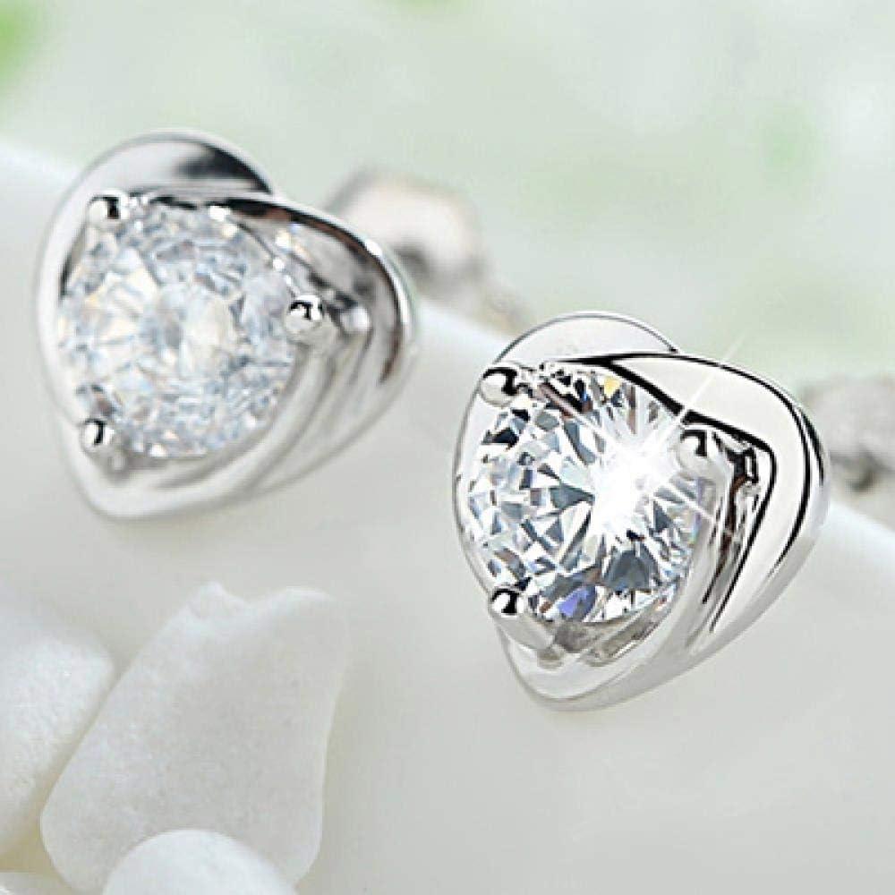 NOBRAND Corazón romántico Amatista Piedras Preciosas Pendientes de Boda genuinos de Plata esterlina 925 Regalo de joyería Fina Mujer