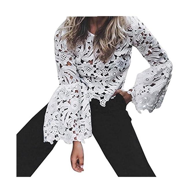 Koly Moda Mujeres Encaje Atractiva Largo Elegante Manga flare Camisa Casual gasa Blouse Hueco Blusas y