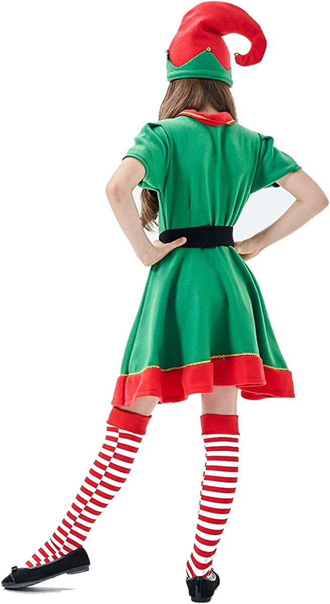 XIMIN Child Holiday Elf Costume Dress and Hat Elf Costume for Girls
