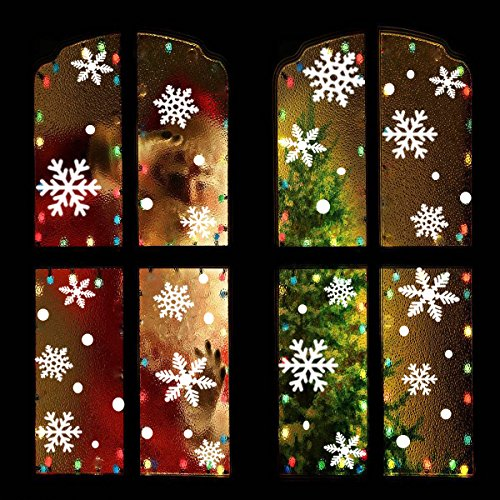 OuMuaMua Christmas Snowflake Window Clings Decal - 176PCS Removable PVC Wall Window Sticker for Christmas, Holiday, Winter Wonderland White Decorations]()