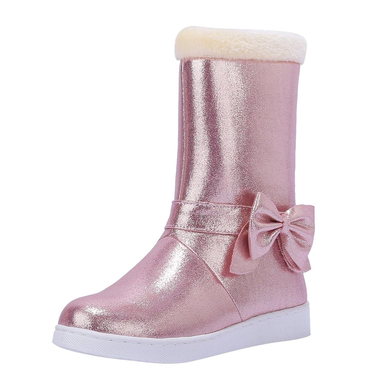 Latasa Women's Cute Bow Mid Calf Flats Winter Snow Boots