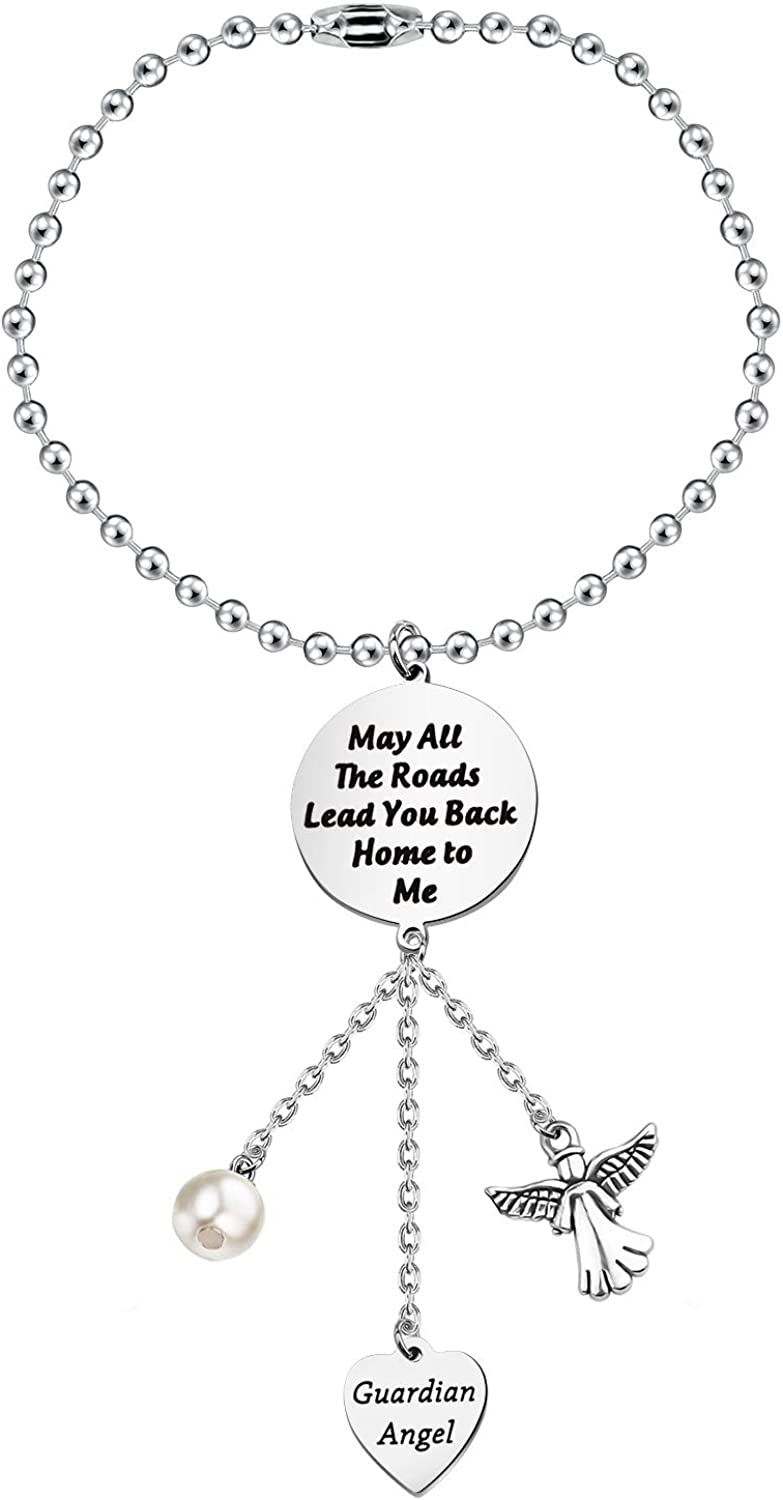ENSIANTH Guardian Angel Rearview Mirror Guardian Angel Car Charm Rearview Mirror Hanging Ornament-May All The Roads Lead You Back Home to Me,Gift for Trucker Husband
