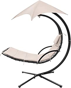 Homall Patio Hammock Lounge Chair Outdoor Hanging Chaise Lounge Swing Chair Canopy Umbrella Sun Shade Free Standing Floating Bed Furniture for Backyard Garden Deck (Beige)