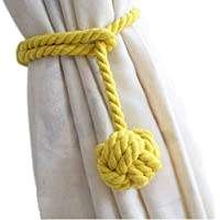 Curtain Tiebacks 2 Pack, Handmade Natural Cotton Rope and Round Finial Drapery Tie Bakes, Decorative Holdbacks Holders for Window Sheer and Blackout Panels