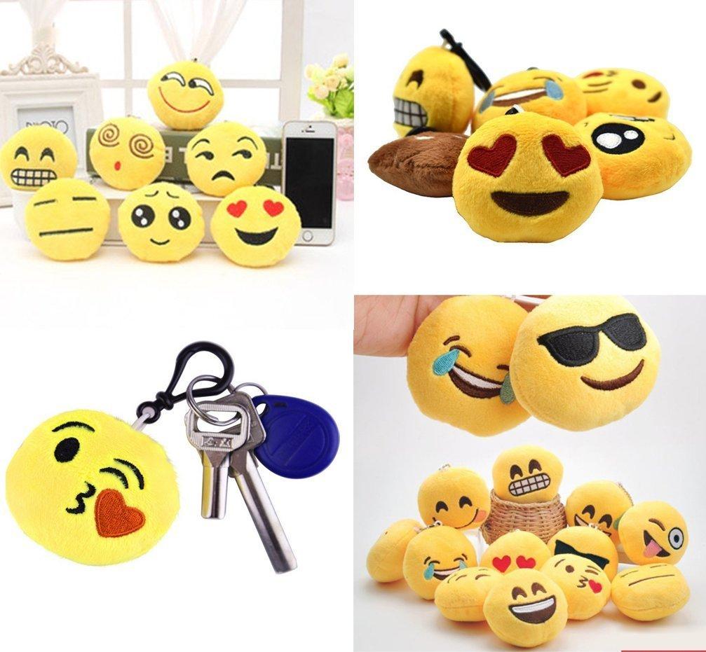 Okaytec 32 pcs Emoji Felpa Llavero - Emoji Emoticonos Llavero Peluche Mayor Uso en WhatsApp - Ideal Como Decoración para la Personalización de la ...