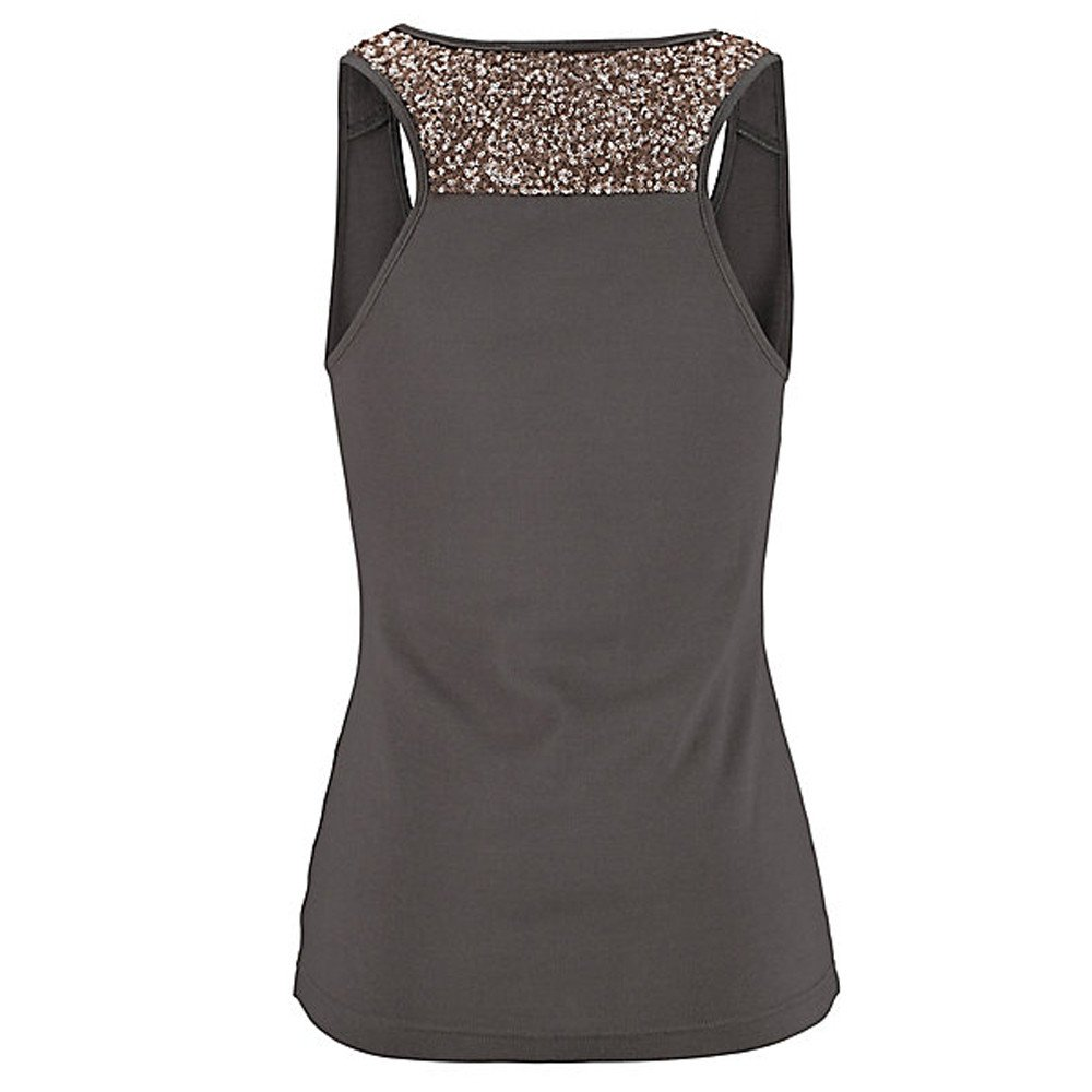 Women Tank Tops Sleeveless Solid Shirt Sequin Splice Plus Size Casual Vest Tunic Tops Blouse (S, Dark Gray) by Yihaojia Women Blouse (Image #3)