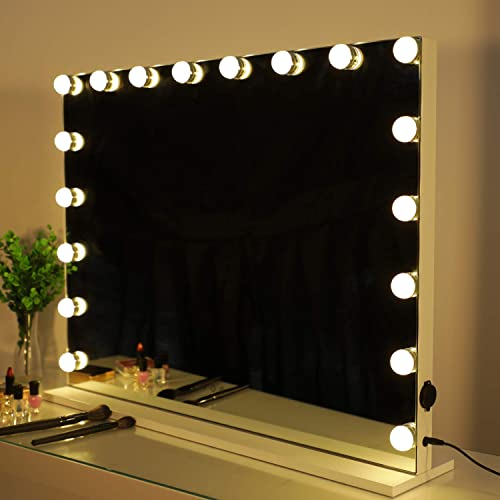 HOMPEN Makeup Vanity Mirror with lights, Hollywood Lighted mirror with Dimmable LED Bulb and 3 Color Modes, Dimmable Tabletop Cosmetic Mirror with 18 LED Bulbs