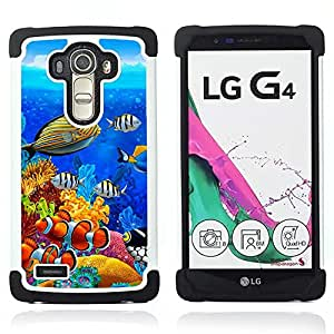 BullDog Case - FOR/LG G4 H815 H810 F500L / - / OCEAN WATER DIVING BLUE TROPICAL FISH /- H??brido Heavy Duty caja del tel??fono protector din??mico - silicona suave