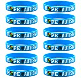 """(12-pack) """"Hope for Autism"""" Silicone Bracelets for Autism Awareness - Wholesale Bulk Pack of Wristbands"""