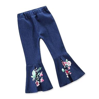 4110c5118fdd7 Samgami Baby Girl Leggings Cowboy Long Pants Floral Print Flared ...