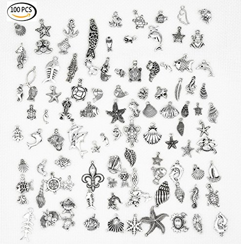 ue Silver Assorted DIY Charms Pendants Accessories for Necklace Bracelet Jewelry Making and Crafting(Marine Animals Style ) (Animal Dolphins Bracelet)