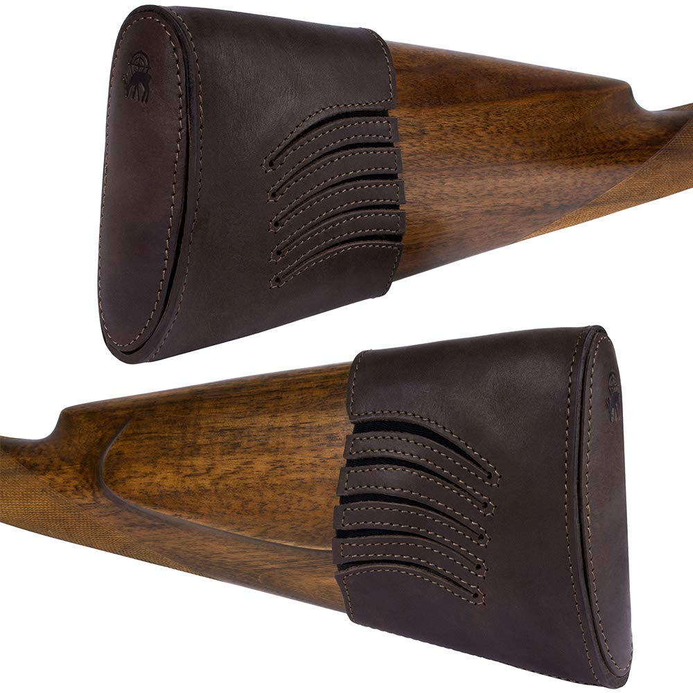 BRONZEDOG Waterproof Genuine Leather Recoil Pad Extendable Stock Shotguns Rifles Slip On Buttstock Cover Hunting Accessories by BRONZEDOG